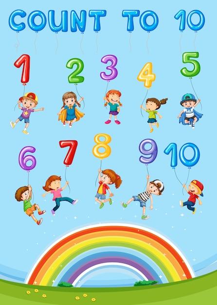 Capitolo per il conteggio dei numeri matematici Vettore Premium