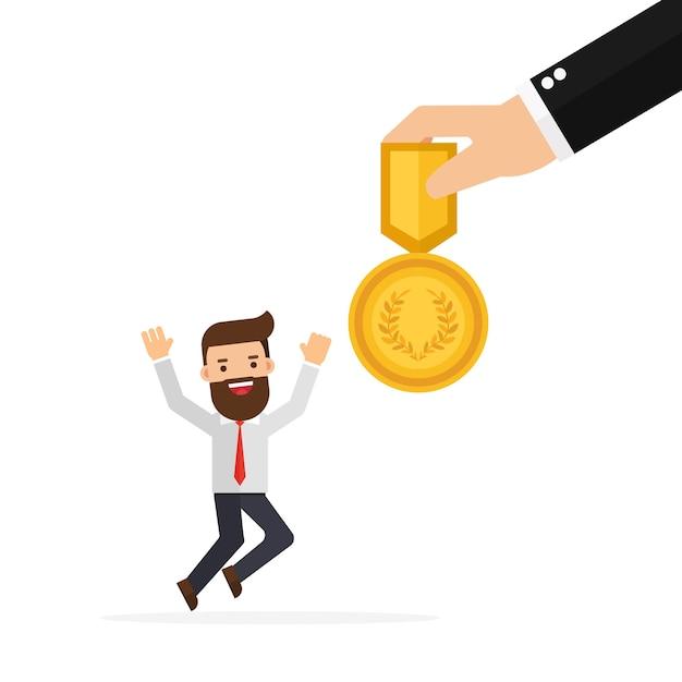 Capo della mano che dà una ricompensa per i dipendenti Vettore Premium