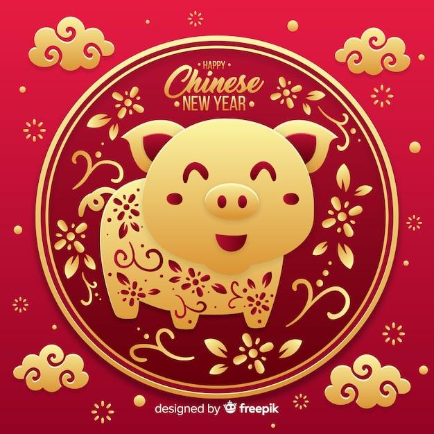 Capodanno cinese 2019 Vettore gratuito