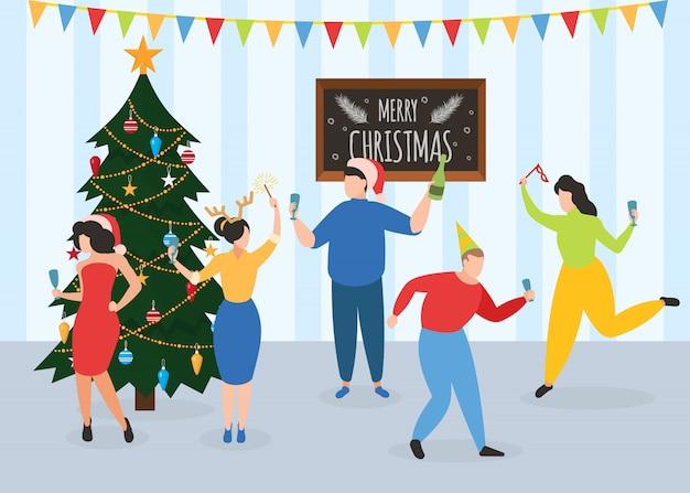 Capodanno, festa di natale, ballo persone colleghi o amici Vettore Premium