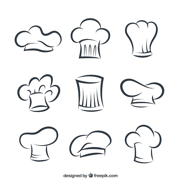 Cappelli cuoco sketchy Vettore gratuito