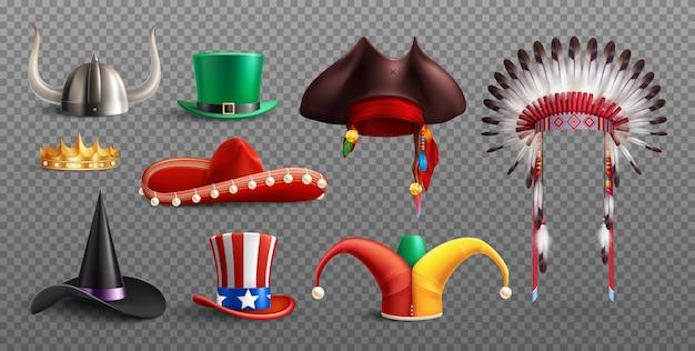 Cappelli da travestimento messi su trasparenti con elementi tradizionali nazionali e festivi isolati Vettore gratuito