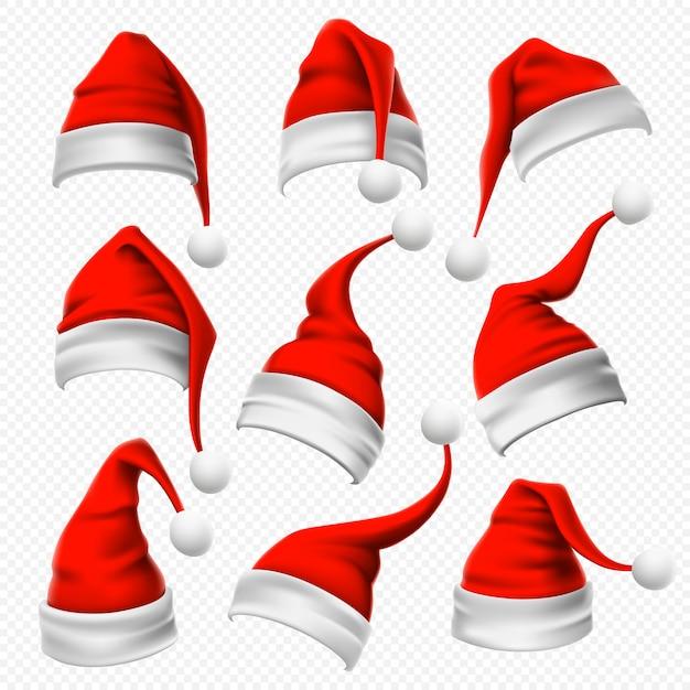 Cappelli di babbo natale. il copricapo rosso e peloso di natale e la testa di vacanze invernali indossano l'insieme realistico Vettore Premium