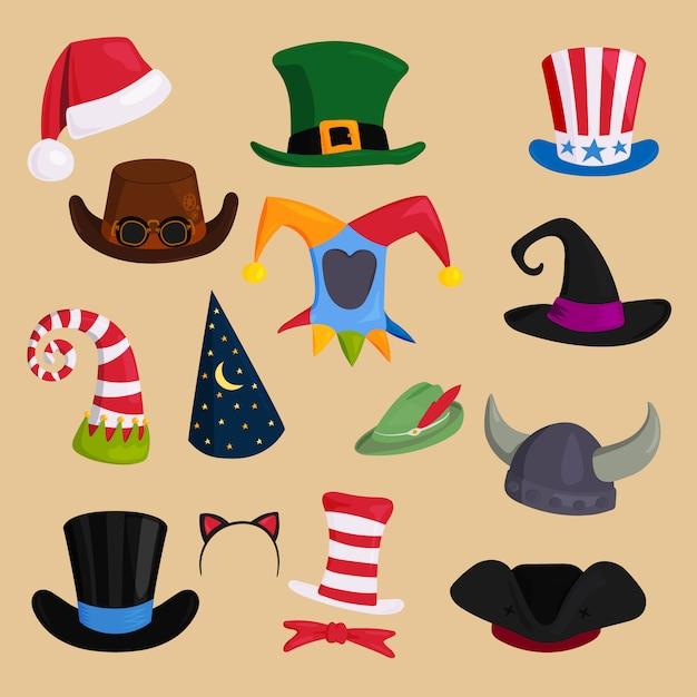 Cappelli di vario tipo e colori Vettore Premium