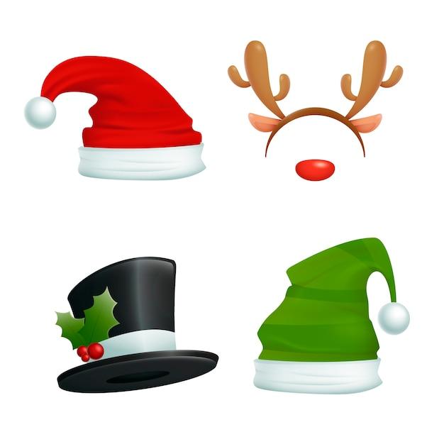 Cappelli realistici per personaggi natalizi Vettore gratuito