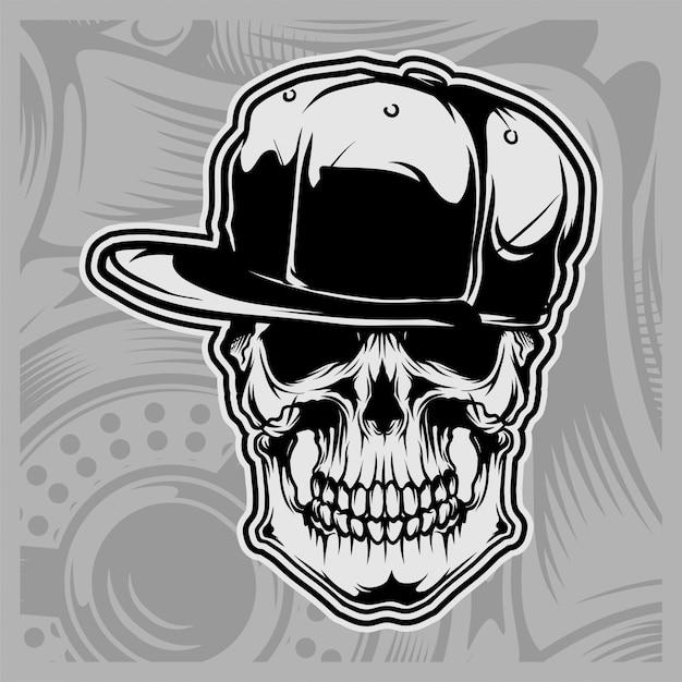 Cappellino con teschio Vettore Premium
