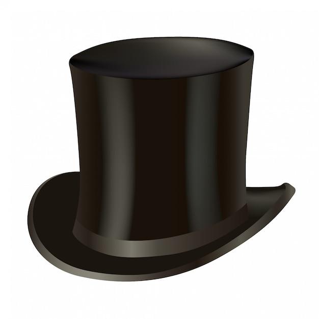 Cappello a cilindro isolato su bianco Vettore Premium