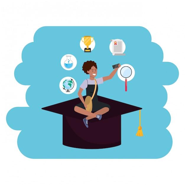 Cappello accademico da studente millenario per l'istruzione online Vettore Premium