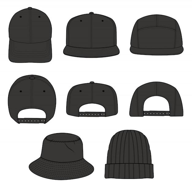 Cappello cap beanie design Vettore Premium