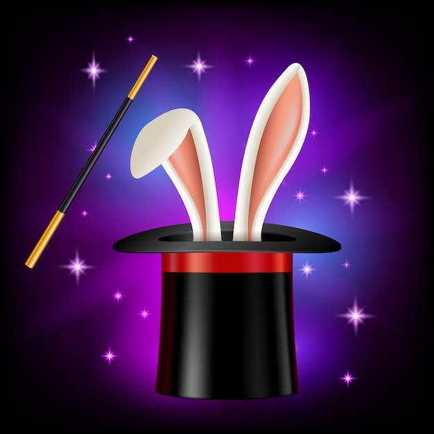 Cappello con orecchie di coniglio e bacchetta magica su sfondo nero. oggetti di mago o illusionista, illustrazione in stile. videogioco, app moile, elemento libro per bambini Vettore Premium