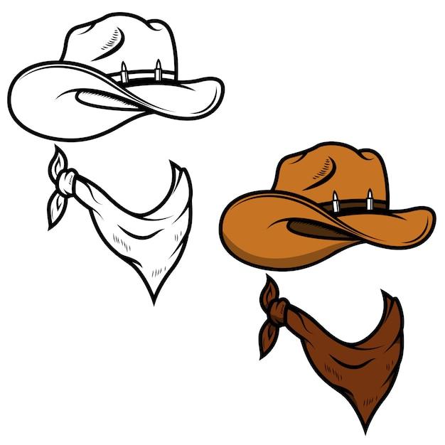 Cappello da cowboy e bandana su sfondo bianco. illustrazione Vettore Premium