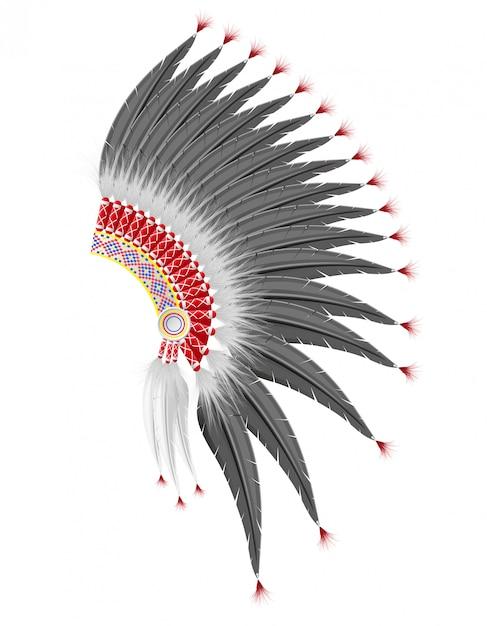 Cappello da mohawk degli indiani d'america. Vettore Premium
