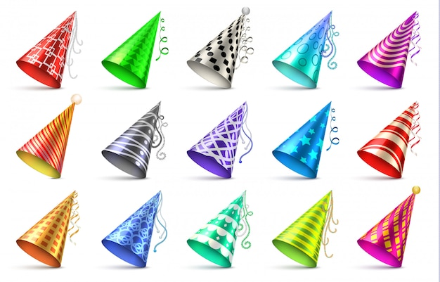 Cappello di carta cono con elementi decorativi di compleanno. insieme di vettore isolato protezioni del partito Vettore Premium
