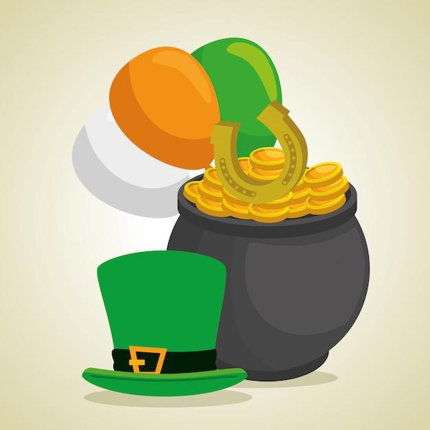 Cappello e calderone da giorno di san patrizio con monete e palloncini Vettore gratuito