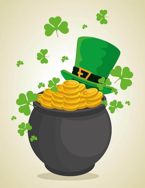 Cappello e calderone di st patrick con le monete per la celebrazione Vettore gratuito