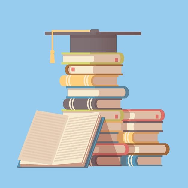 Cappello laureato sulla pila di libri. Vettore Premium