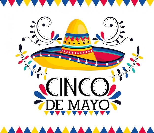 Cappello messicano con decorazione alla celebrazione di vacanza Vettore Premium