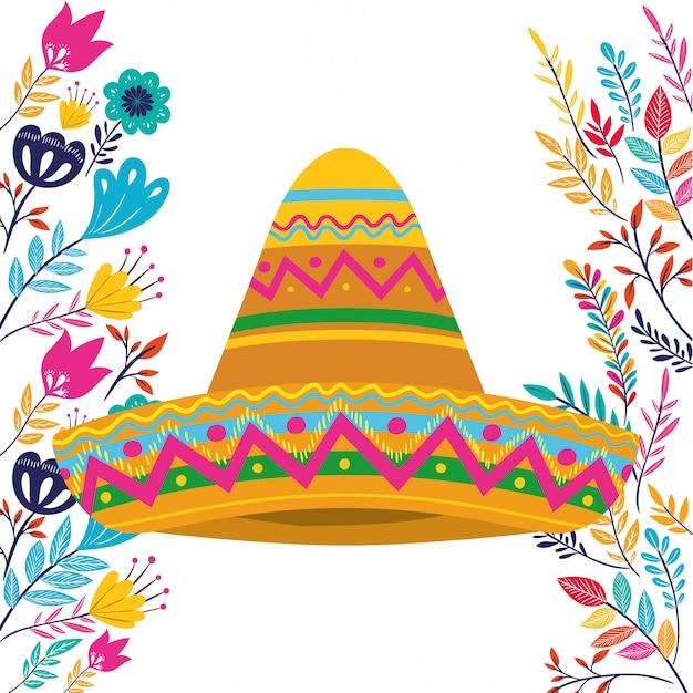 Cappello messicano su bianco Vettore Premium