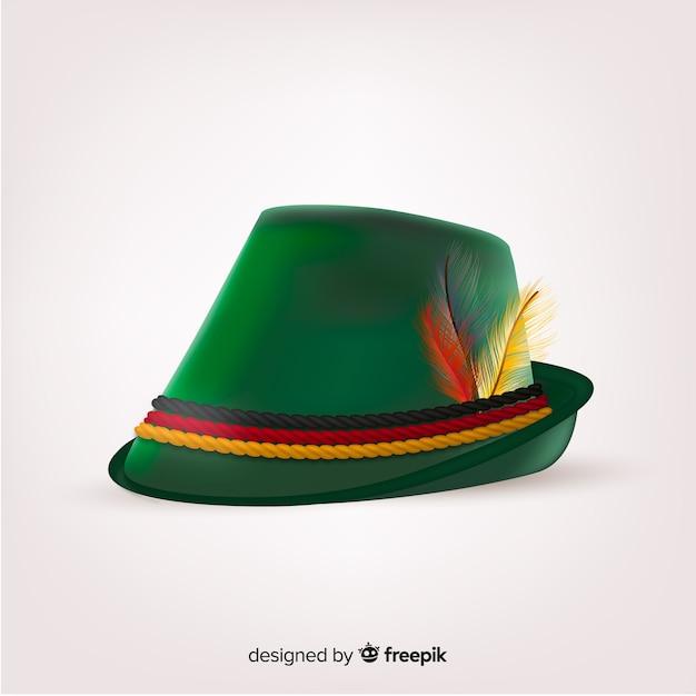 Cappello oktoberfest decorativo verde realistico Vettore gratuito