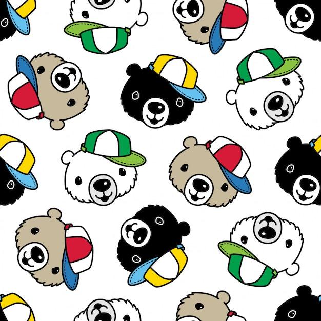 Cappuccio polare modello senza cuciture dell'orso Vettore Premium