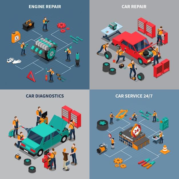 Car service 4 isometric icons square Vettore gratuito