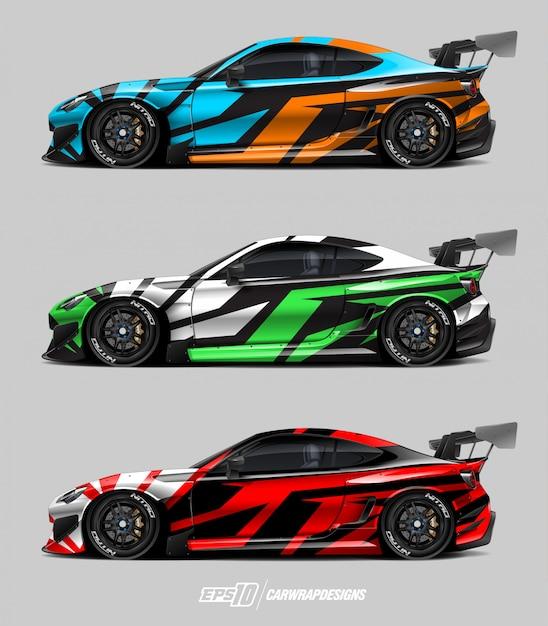 Car wrap design set Vettore Premium