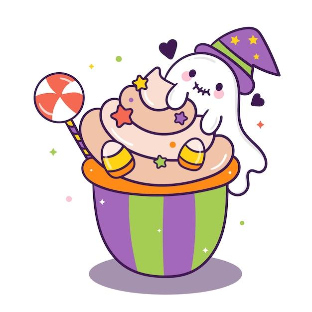Caramella sveglia del fumetto della torta di halloween con i fantasmi Vettore Premium