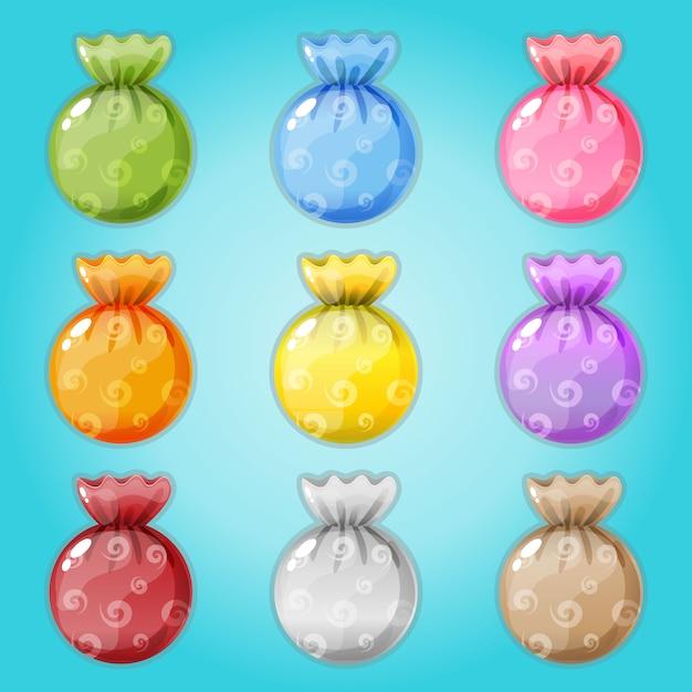 Caramelle confezionate in 9 colori. Vettore Premium