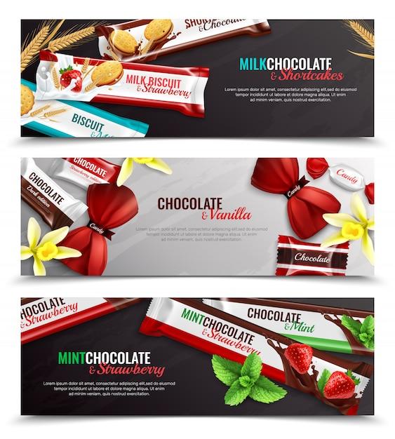 Caramelle e biscotti di cioccolato che imballano con le insegne orizzontali realistiche di sapore 3 della menta della fragola della vaniglia isolate Vettore gratuito