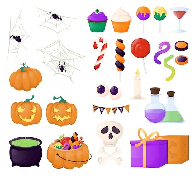 Caramelle e dolci di halloween Vettore Premium