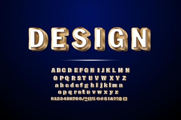 Carattere 3d dorato di lusso. lettere dell'alfabeto chic, numeri e simboli. Vettore Premium