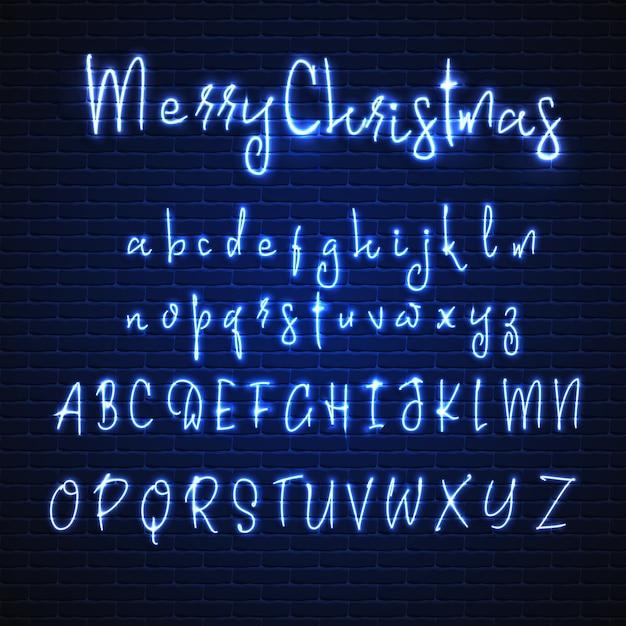Natale In Latino.Carattere Al Neon Latino Buon Natale Alfabeto Incandescente