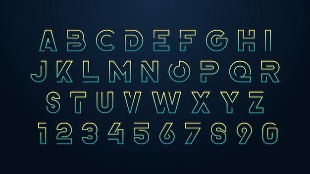 Carattere alfabeto futuristico minimalista Vettore Premium