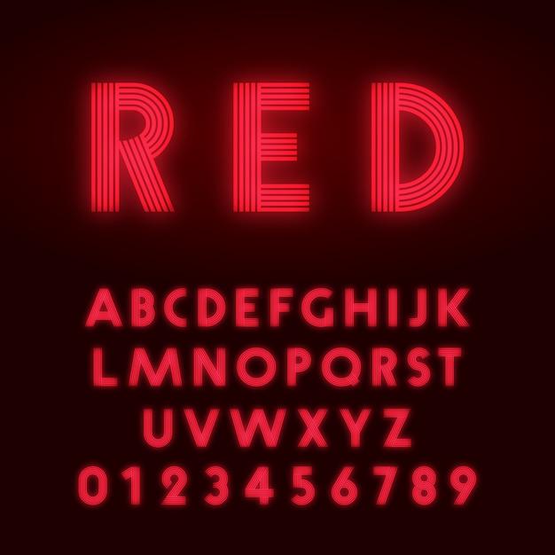 Carattere alfabeto neon rosso Vettore Premium