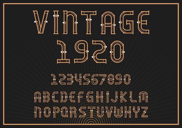 Carattere alfabeto vintage con lettere e numeri Vettore Premium