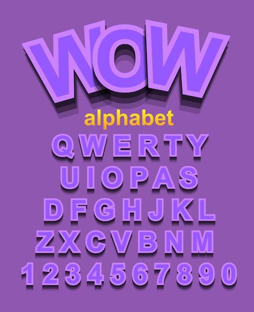 Carattere alfabeto viola con lettere e numeri Vettore Premium