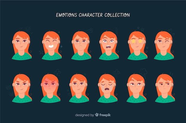 Carattere che mostra la raccolta di emozioni Vettore gratuito