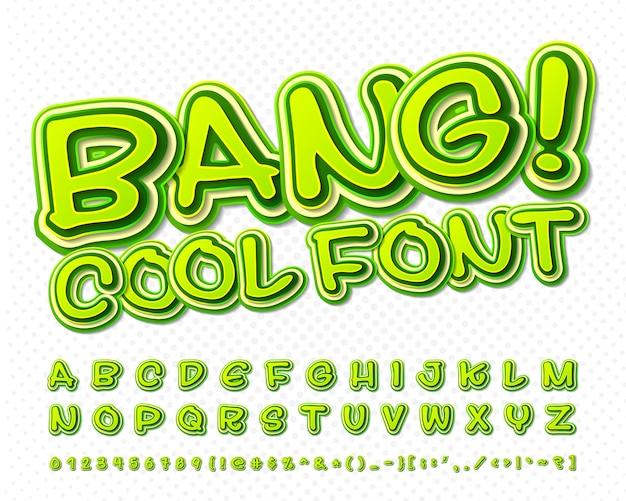 Carattere comico alfabeto verde in stile di fumetti, pop art. lettere e figure a più strati del fumetto Vettore Premium