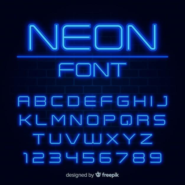 Carattere con alfabeto in stile neon Vettore gratuito