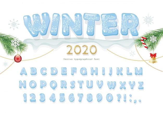 Carattere decorativo di natale ghiaccio nuovo anno 2020 Vettore Premium