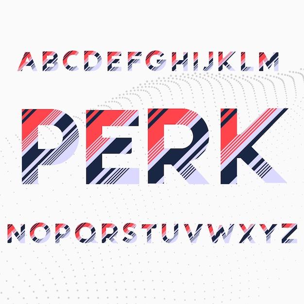Carattere degli alfabeti nelle righe diagonali colorate Vettore gratuito