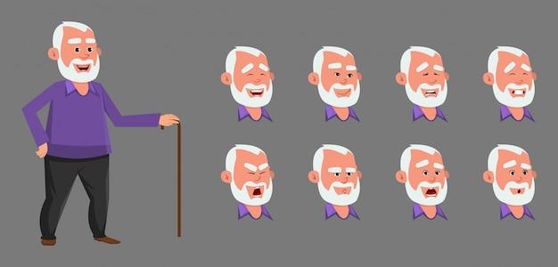 Carattere del vecchio con diverse emozioni ed espressioni. Vettore Premium