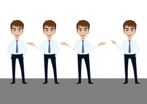 Carattere dell'uomo d'affari o cartone animato di uomo d'affari in diverse pose insieme Vettore Premium
