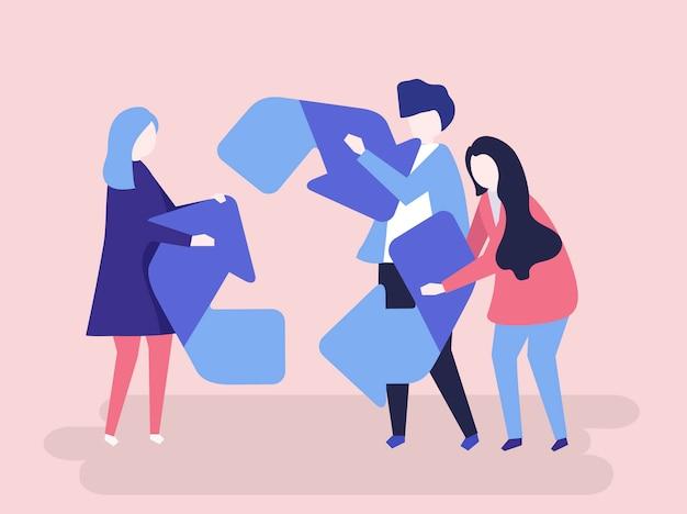 Carattere della gente che tiene un'illustrazione di simbolo di riciclaggio Vettore Premium