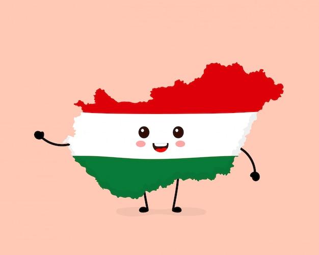 Carattere della mappa e della bandiera dell'ungheria felice sorridente divertente sveglio. Vettore Premium