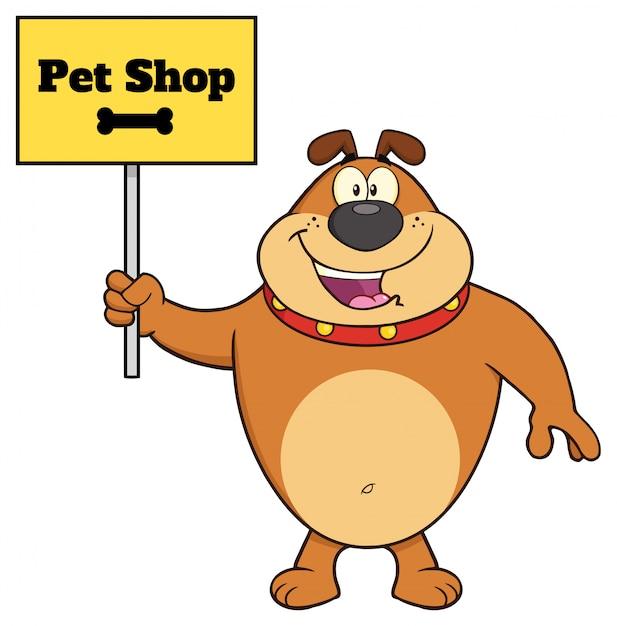 Carattere della mascotte del fumetto del bulldog di brown che tiene un segno con il negozio di animali domestici del testo Vettore Premium