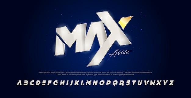 Carattere di alfabeto corsivo moderno sport. caratteri tipografici in stile urbano Vettore Premium