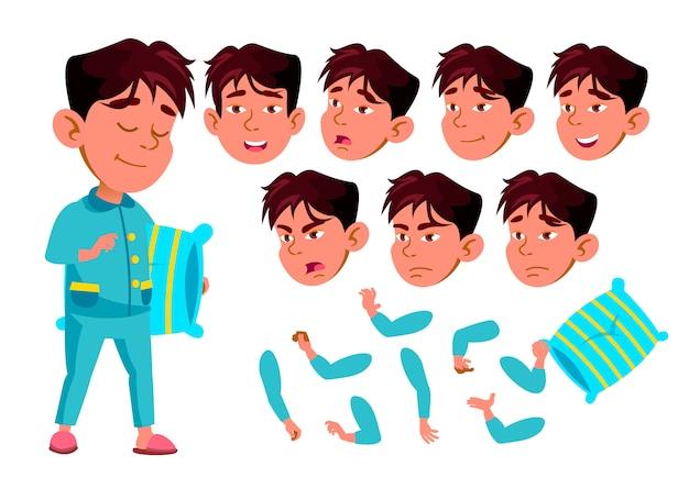 Carattere di bambino ragazzo. asiatico. costruttore di creazione per l'animazione. affronta le emozioni, le mani. Vettore Premium