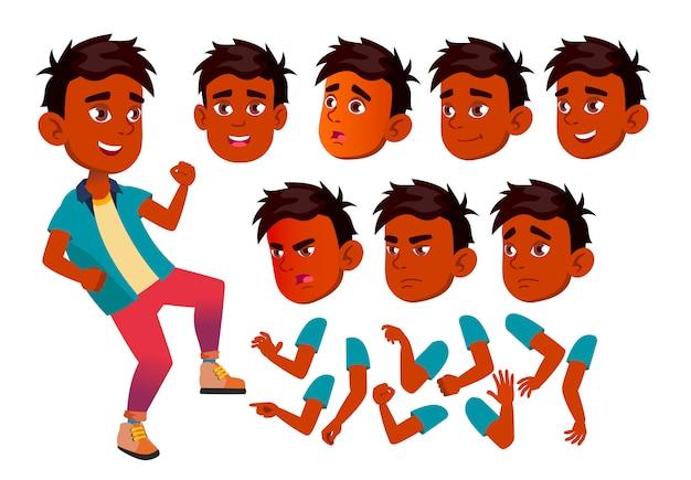 Carattere di bambino ragazzo. indiano. costruttore di creazione per l'animazione. affronta le emozioni, le mani. Vettore Premium