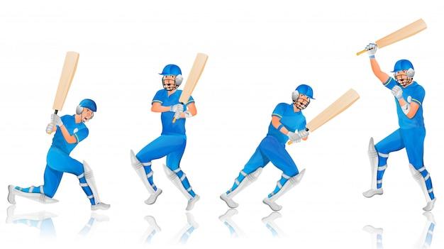 Carattere di battitore di cricket in diverse pose. Vettore Premium